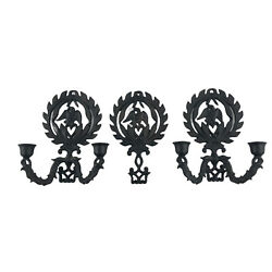 Vintage Wilton Cast Iron Eagle Wall Sconces Candle Holders W/ Matching Trivet
