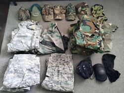 Large Lot Of Military Surplus Milsurp Camo Jackets + Pants Along With Other Gear