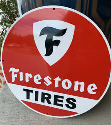 Vintage Style Firestone Tires Service Gas Heavy Steel Metal Quality Sign