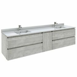 Fresca Stella 84 Wall Hung Double Bathroom Cabinet W/ Top And Sinks In Ash Gray
