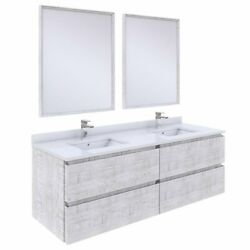 Fresca Stella 60 Wall Hung Double Bathroom Vanity W/ Mirrors In Rustic White