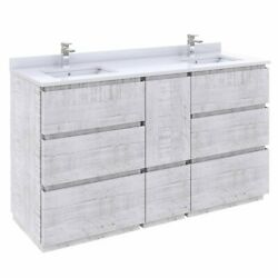 Fresca Stella 60 Double Bathroom Cabinet W/ Top And Sinks In Rustic White