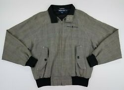 Polo Golf Menand039s Size M Vintage Full Zip Jacket Vented Plaid Gray B4