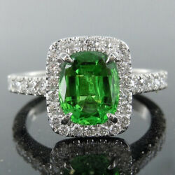 Beautiful 14k White Gold 2.10 Ct Emerald And Diamond Engagement Rings Size 4 5
