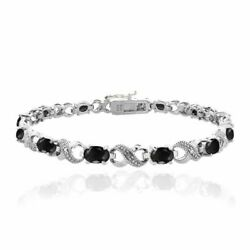 Genuine Black Sapphire And Diamond Accent Infinity Bracelet 7.2ct Sterling Silver