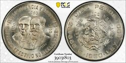 1960-mo Mexico 10 Pesos 150th Anniversary Pcgs Ms66 Only 2 Finer   1035
