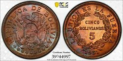 1951-h Bolivia 5 Bolivianos Km 185 Pcgs Ms65 Rb Great Toning       1066