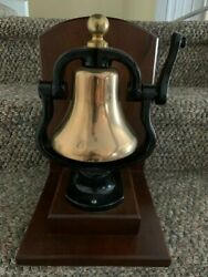 Authentic Locomotive Train Bell On Display Stand. Measures 13 X 9 X 10 Inches.