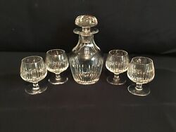 Vintage Crystal Brandy Decanter And 4 Sniffer Glasses Pre Owned Rare