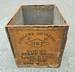 Rare Antique Caroline Hutchings Tea Crate Wood Box No 52 Chinese Young Hyson Handp