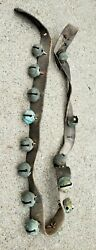 Antique Horse Graduated 14 Brass Sleigh Jingle Bells Leather Strap Country Store
