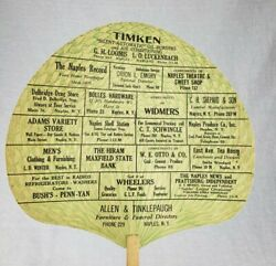 Rare Antique Naples Ny Allen And Tinklepaugh Furniture And Funeral Advertising Fan