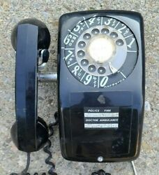 Vintage Aeco Black Rotary Dial Telephone Wall Phone Slant Front Aecd Mcm Deco