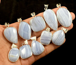 Lace Agate Gemstone Bezel Pendant 925 Sterling Silver Plated Jewellery S L 109
