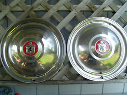 Two Vintage 16 In. Lyon Lyons Mfg Co Hubcaps Wheel Covers Center Cap Rat Rod
