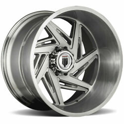 24x14 Brushed Texture Wheels American Truxx At1906 Spiral 8x6.5/8x165.1 -76 Set