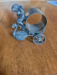 Beautiful Silver Plated Figural 1800's Cherub And Swan Napkin Ring