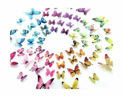 60PCS Butterfly Wall Decor for Wall 3D Butterflies Wall Stickers Removable Mural
