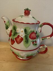 Temp-tations Figural Fruit Strawberry Teapot And Teacup