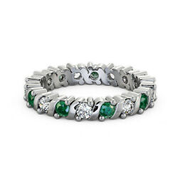 1.41 Ct Traditional Emerald And Diamond Anniversary Band 14k White Gold Size 7 8 9