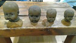 Cast Iron Baby Head Collection 4 Toy Molds Antique Vintage Super Rare Halloween