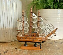 Realistic Vintage 3d Toy Wood Sail Pirate Ship Boat Model Nautical Decor