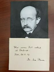 Max Planck Handwritten Quote Signed, Physicist, Nobel Prize Quantum Theory