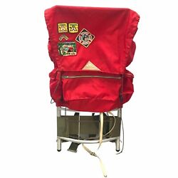Vintage Kelty Pack External Aluminum Frame Red Hiking Backpack Boy Scout Patches
