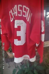 Official Ccm Redwing Jersey Autographed By Steve Chiasson