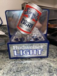 Vintage Budweiser Light Beer Can On Ice Cube 3d Lighted Bar Sign Cave Not Neon