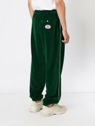 Nwt Green Velour Relaxed Fit Side Striped Gg Track Pants Size M 1400.00