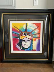 21 X 21 Statue Of Liberty Head Peter Max Signed