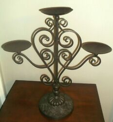Vintage 3 Arm Wrought Iron Candelabra Metal Candle Holder Rustic, Farmhouse