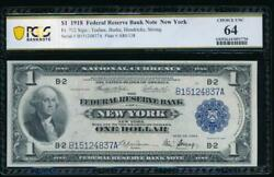 Ac Fr 712 1918 1 Frbn New York Pcgs 64 Uncirculated