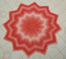 Handmade Crochet 12 Point Round Ripple Blanket Afghan, New, Coral In Color