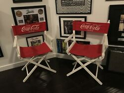 2 Vtg Coca Cola Red White Canvas Directors Chair Gold Medal Badger Chairs Drink