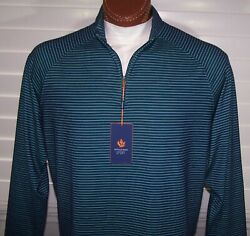 Donald Ross Wicking Trimmer Fit L/s Zip Pull-over Sz L Navy-irish Green