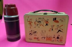 Vintage Antique 50's - 60's Metal Printed School Lunch Box With Thermos Bottle