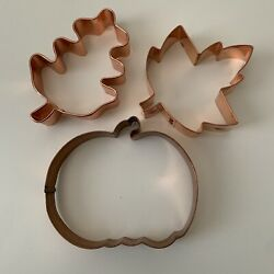 Old River Road Cookie Cutter Copper Lot Of 3 Fall Autumn Set Pumpkin Leaves