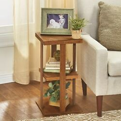 Square Side Table With Distressed Farmhouse-style Finish, 3-tiered - Rustic Wood