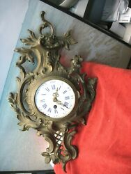 VINTAGE FRENCH WALL CLOCK BRASS BRONZE AS IS PARTS ONLY