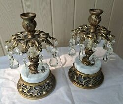 Beautiful Pair Of Hollywood Regency Brass/marble/crystal Prisms Candle Holders