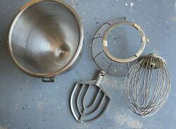 20 Quart Stainless Steel Bowl Model A-200-20 Used Hobart, Guard, Paddle, Whisk