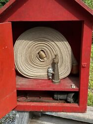 C.1964 Fire Hose Wood Cabinet, U.s. Forestry Service, Outdoors, 8 Brass Nozzle