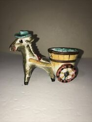 Vintage Ceramic Donkey Planter Italy Hand Painted Donkey And Cart Planter Teal