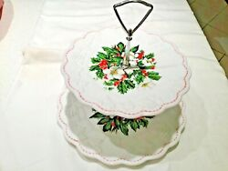 Westmoreland Panelled Grape Holly Christmas Pattern Two Tier Plate Cookie Tray