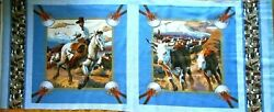 Western Fabric Panel 2 Pillow Fronts Cowboy Horse Cattle Blue Border Cotton