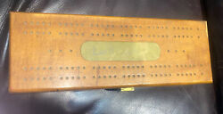 Vintage Cribbage Board Wood Box Dominos Cards Game Set Pegs Included