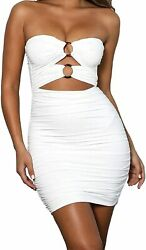 Women Sexy Strapless O-ring Cut Out Backless Tube Ruched Bodycon Party Mini Club