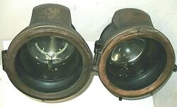 Pair 1913-14 And Early 1915 Ford Model T Carbide Headlamps Eandj